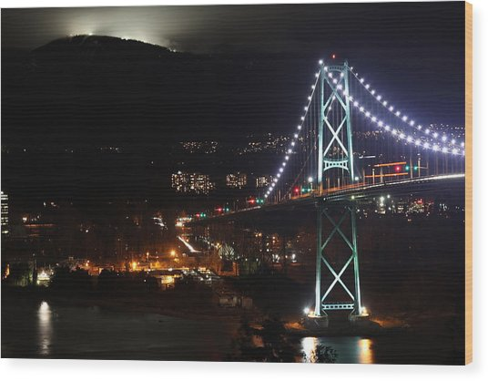 Lions Gate Bridge And Grouse Mountain Wood Print