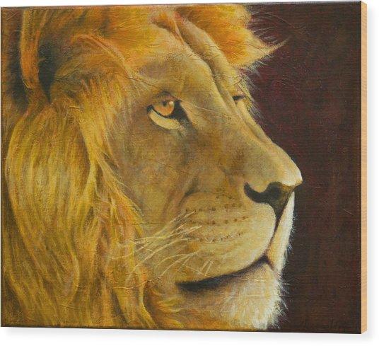 Lion's Gaze Wood Print