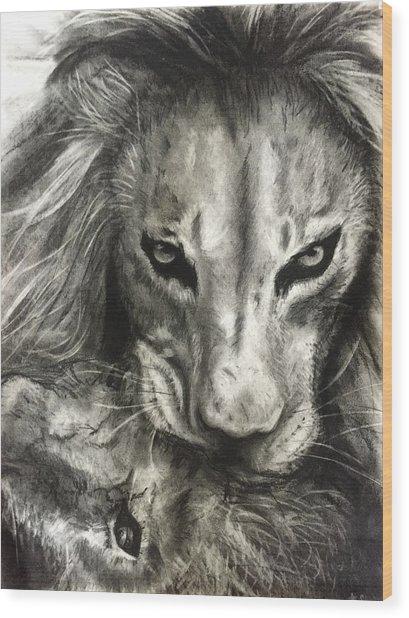 Lion's World Wood Print