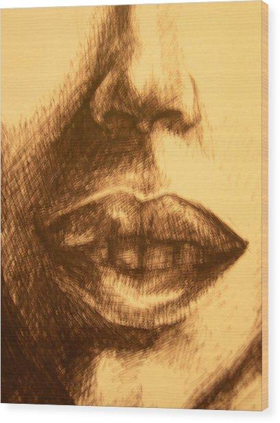 Lips Wood Print by J Oriel