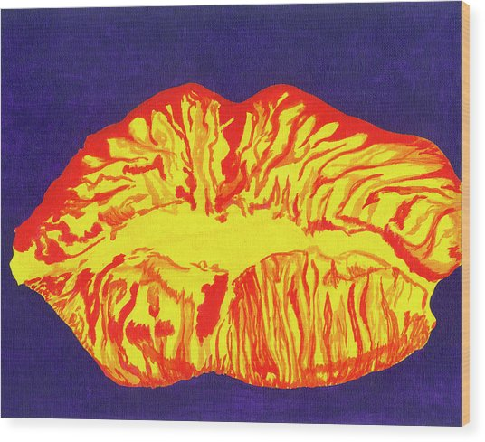 Lips Wood Print by Rishanna Finney