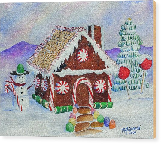 Lisa's Gingerbread House Wood Print