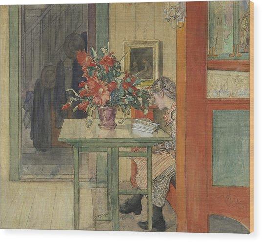 Lisbeth Reading Wood Print