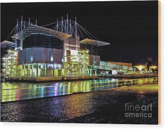 Lisbon - Portugal - Oceanarium At Night Wood Print