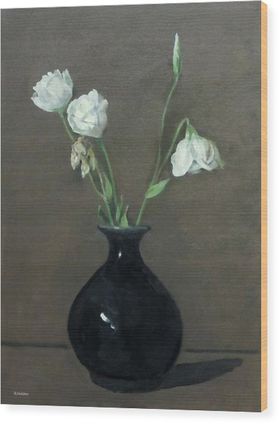 Lisianthus In Black Vase Wood Print