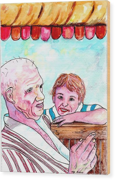 Listening To Grandpas Endless Funny Stories Wood Print