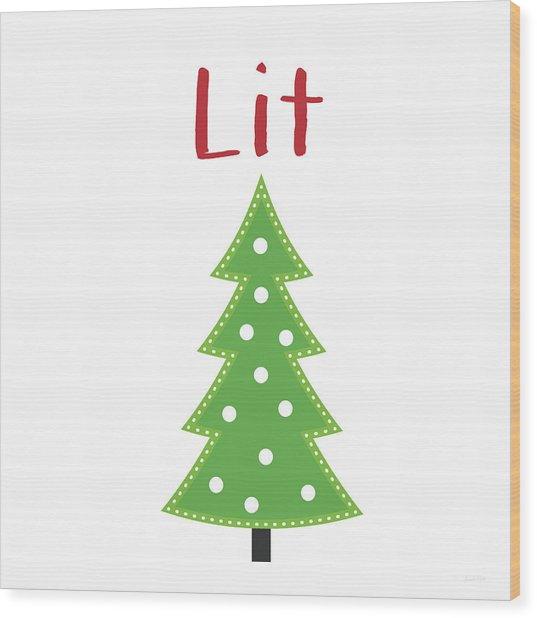 Lit Christmas Tree- Art By Linda Woods Wood Print