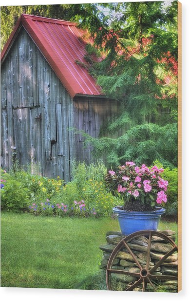 The Country Cottage Garden  Wood Print