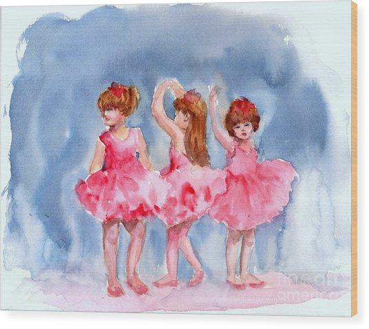 Little Ballerinas Wood Print