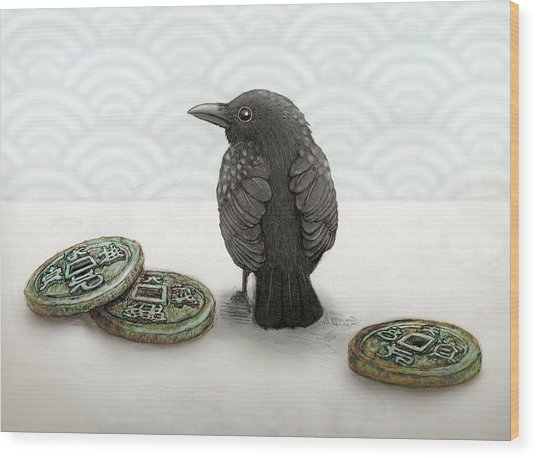 Little Bird And Coins Wood Print