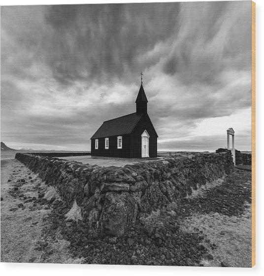 Little Black Church 2 Wood Print