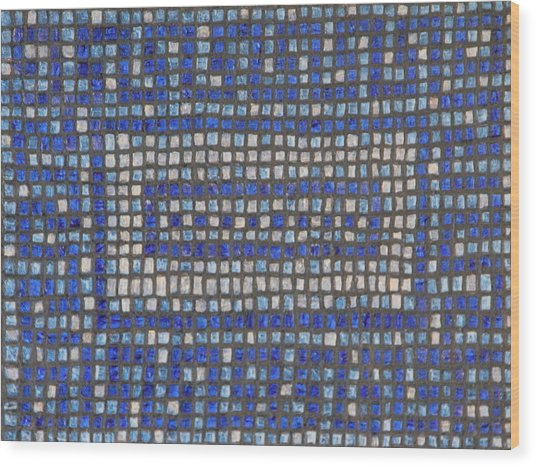 Little Blue Tiles Wood Print by Tracy Fetter