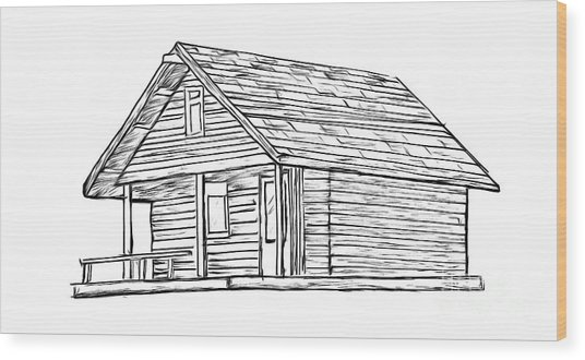Little Cabin In The Woods Wood Print