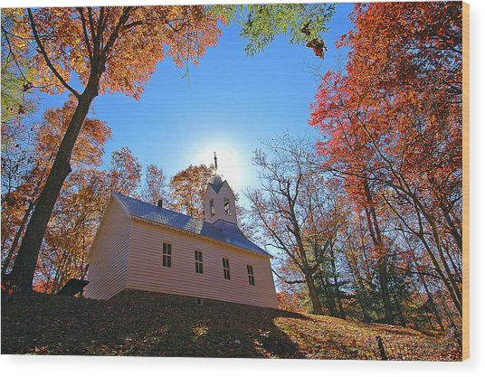 Little Cataloochee Church Wood Print