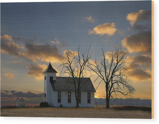 Little Church On The Prairie Wood Print