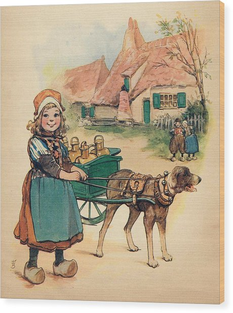 Little Dutch Girl With Milk Wagon Wood Print
