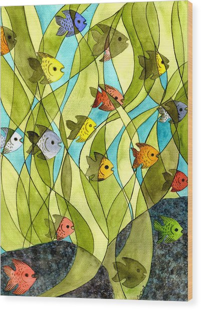 Little Fish Big Pond Wood Print