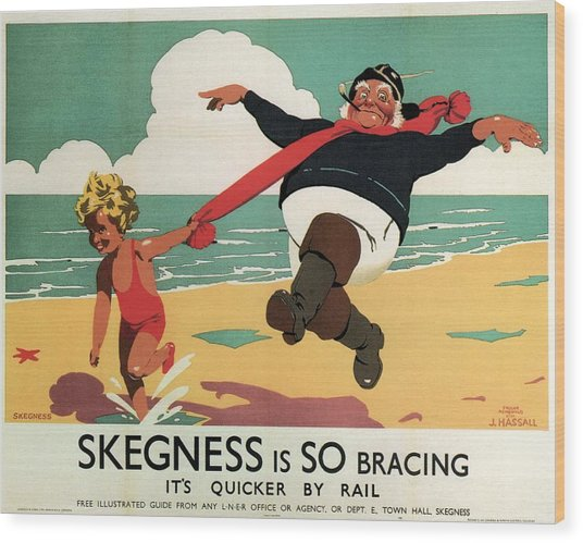 Little Girl And Old Man Playing On The Beach In Skegness, Lincolnshire - Vintage Advertising Poster Wood Print