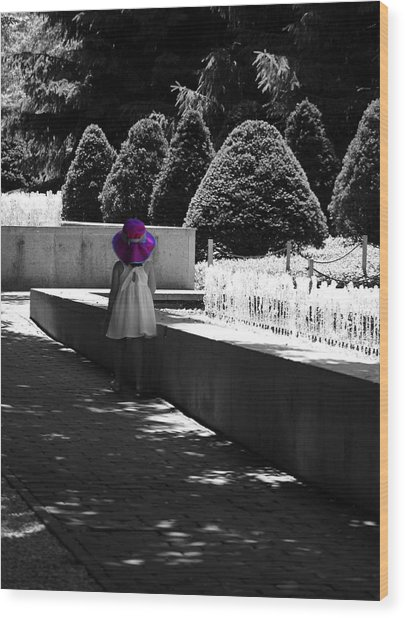 Little Girl In Magenta Hat Black And White Selective Color Wood Print