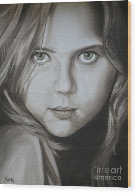 Little Girl With Green Eyes Wood Print