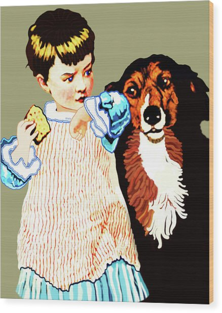 Little Girl With Hungry Mutt Wood Print