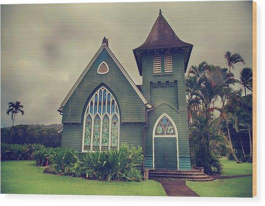 Little Green Church Wood Print