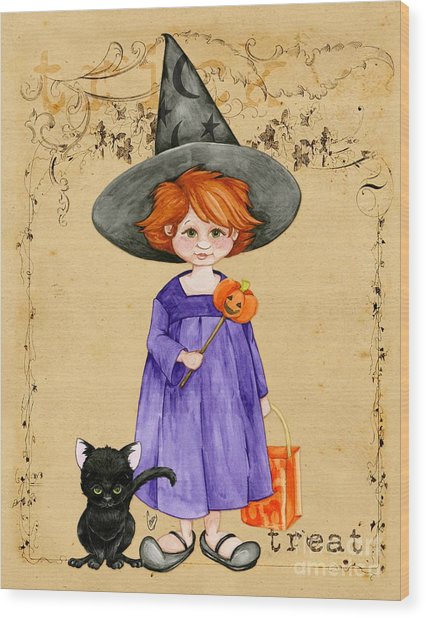 Little Halloween Witch Wood Print