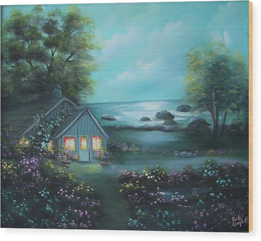 Little House By The Sea Wood Print