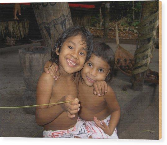 Little Indians  Amazon Wood Print by Blima Efraim