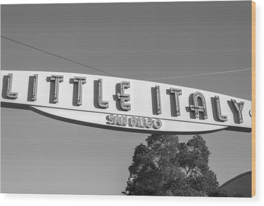 Little Italy Monochrome Wood Print