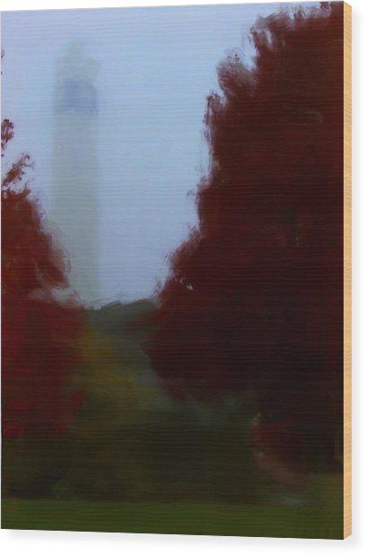 Little Joe In Morning Fog Wood Print