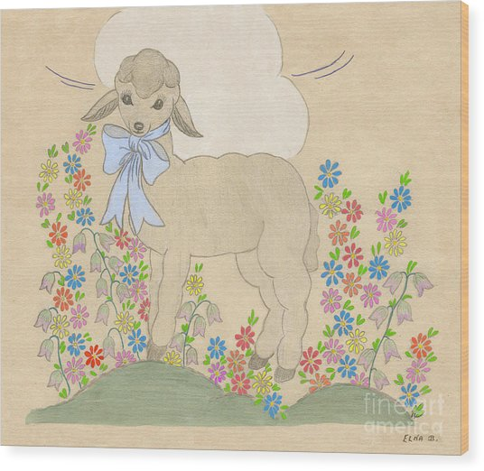 Little Lamb Lightened Wood Print