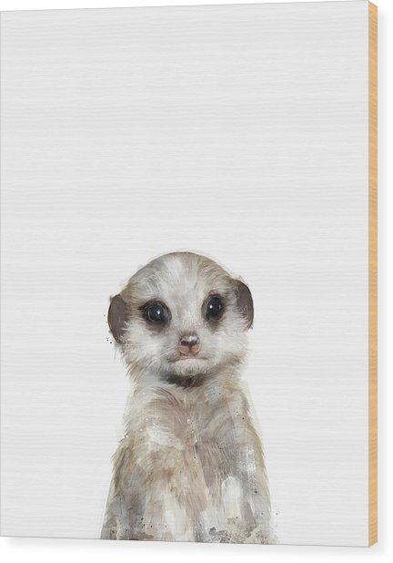 Little Meerkat Wood Print