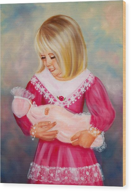 Little Mommy Wood Print by Joni McPherson