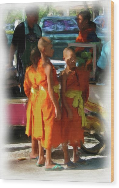 Little Novice Monks 1 Wood Print