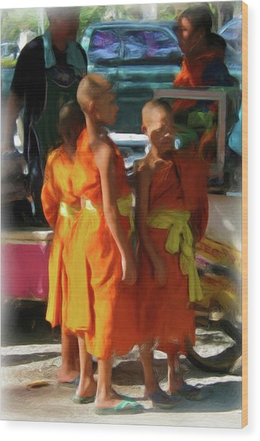 Little Novice Monks 1-cropped Wood Print