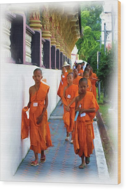 Little Novice Monks 2 Wood Print