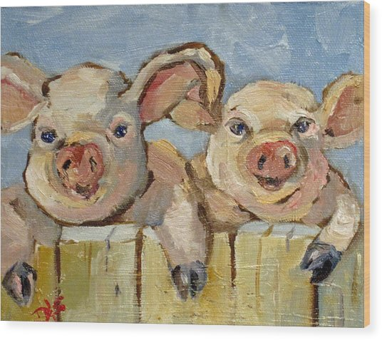 Little Pigs Wood Print by Delilah  Smith