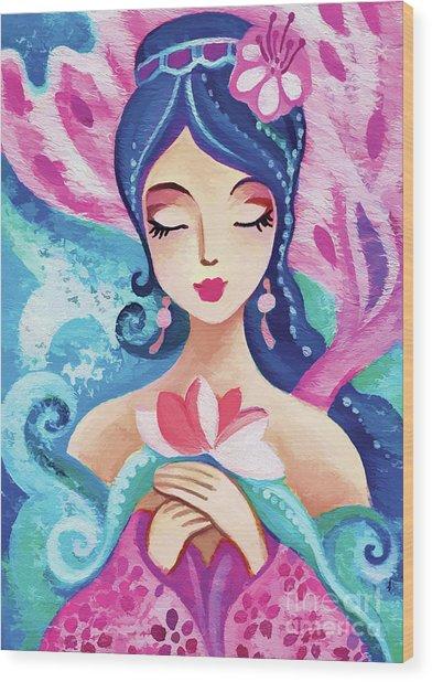 Little Quan Yin Mermaid Wood Print