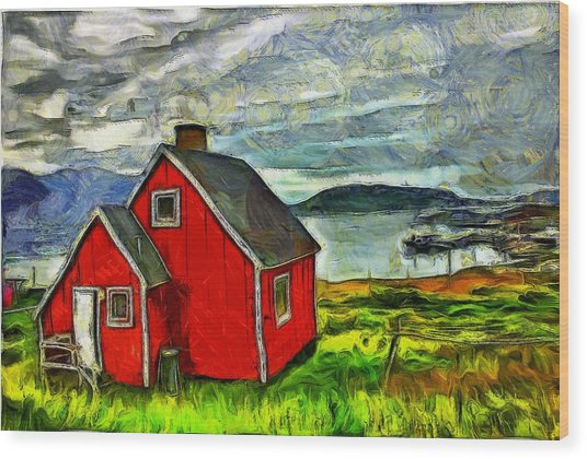 Little Red House In Greenland Wood Print
