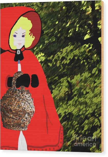 Little Red Riding Hood In The Forest Wood Print
