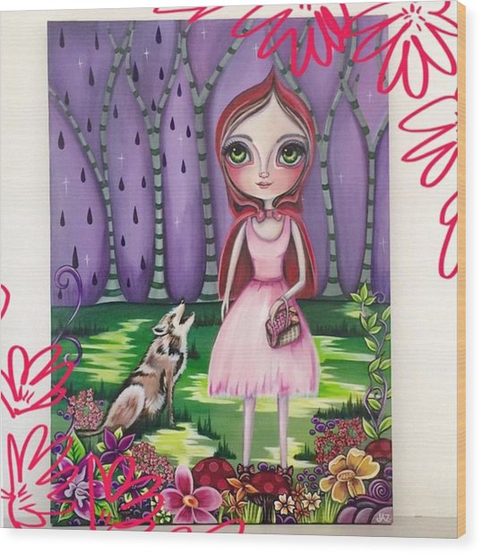 little Red Riding Hood Painting Wood Print