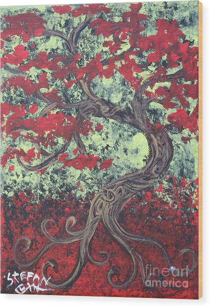 Little Red Tree Series 3 Wood Print
