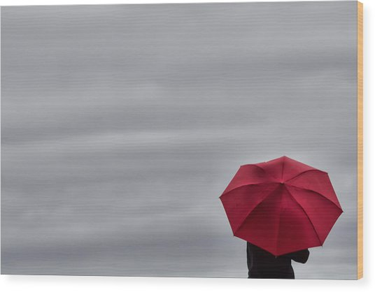 Little Red Umbrella In A Big Universe Wood Print