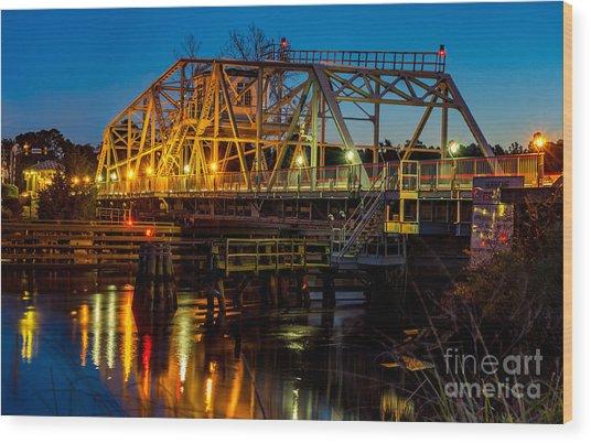Little River Swing Bridge Wood Print