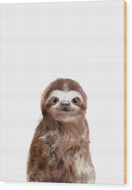 Little Sloth Wood Print