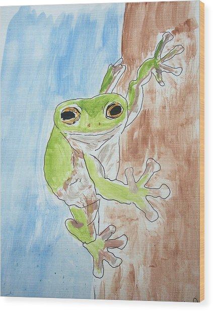 Little Tree Frog Wood Print by Jennifer Coleman