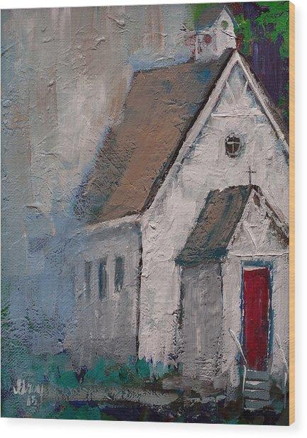 Little White Church On The Corner Christian Painting  Wood Print