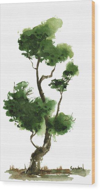 Little Zen Tree 145 Wood Print