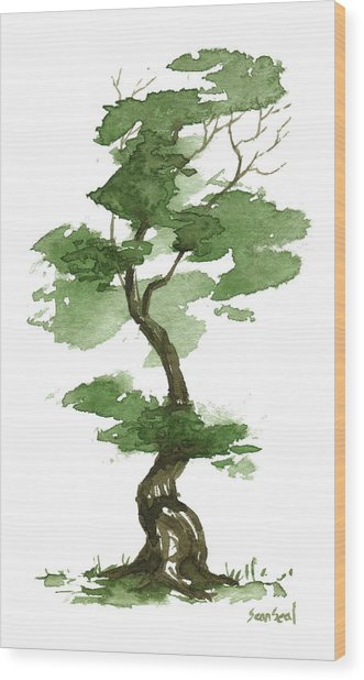Little Zen Tree 208 Wood Print